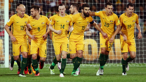 The Caltex Socceroos celebrate scoring during their World Cup qualifying campaign.