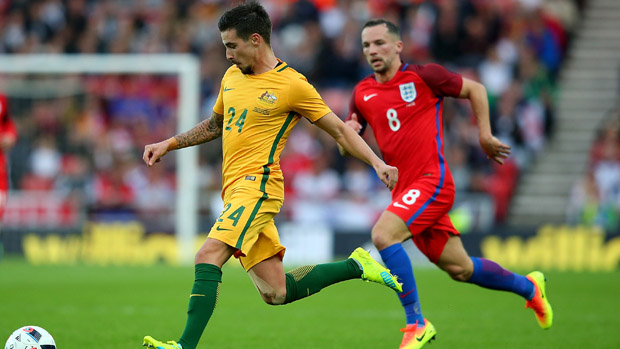 Jamie Maclaren on the ball during the Socceroos' 2-1 loss to England.