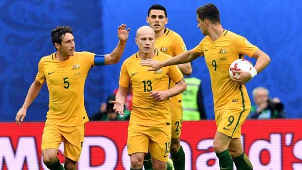Caltex Socceroos players celebrate Mark Milligan's equaliser against Cameroon.