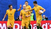 Caltex Socceroos players celebrate Mark Milligan's equaliser against Cameroon.