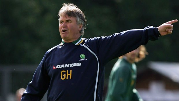 Former Socceroos boss Guus Hiddink takes charge of a training session ahead of the 2006 World Cup.