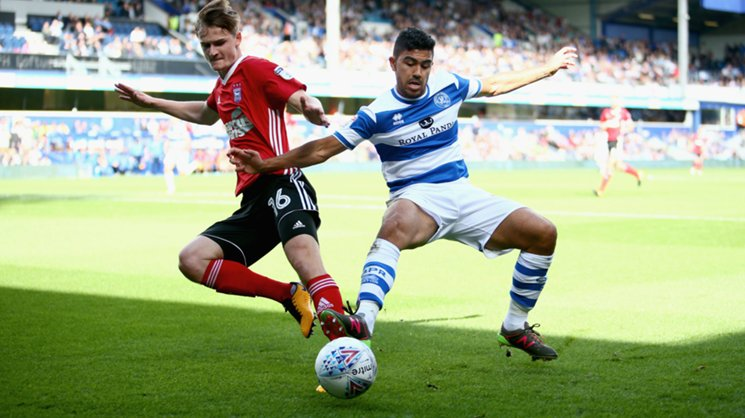 Massimo Luongo on the ball for QPR against Ipswich Town.