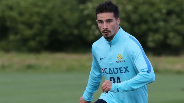 Striker Jamie Maclaren on the training ground with the Caltex Socceroos.