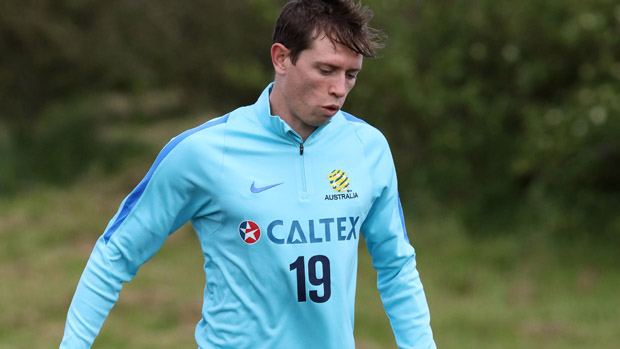Craig Goodwin on the ball during a Socceroos training session.