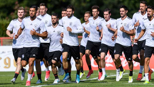 The German team trains in Russia ahead of their Confeds Cup opener against the Caltex Socceroos.