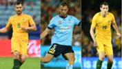 Caltex Socceroos defenders Bailey Wright, Matt Jurman and Ryan McGowan.