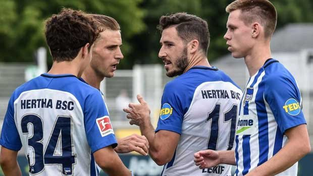 Mat Leckie in action for Hertha Berlin over the weekend. Pic courtesy of Hertha Berlin Twitter.