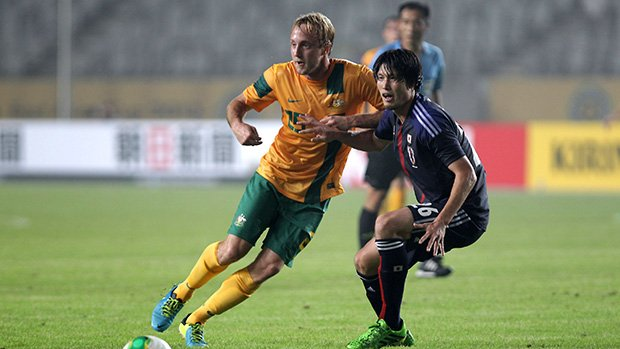 Mitch Nichols in action when the Socceroos played Japan at last year's EAFF East Asian Cup.