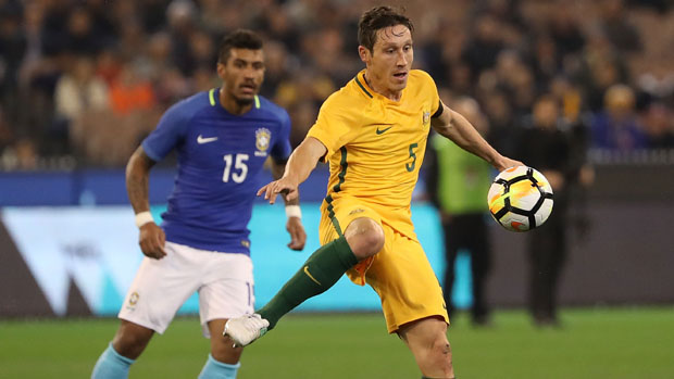 Mark Milligan in action for the Caltex Socceroos in Tuesday night's friendly against Brazil.