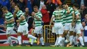 Caltex Socceroo Tom Rogic celebrates scoring a goal for Celtic.