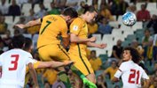 Jackson Irvine heads the Socceroos in front again UAE.
