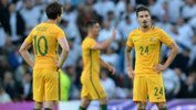 Socceroos striker Jamie Maclaren in his debut appearance in the green and gold against England.