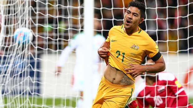 Massimo Luongo after scoring the Caltex Socceroos' first goal in the 2-0 win over Iraq in Perth.