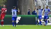 Caltex Socceroo Mathew Leckie celebrates one of his two goals in Hertha Berlin's 2-0 Bundesliga win over Vfb Stuttgart.