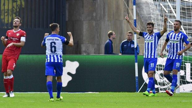 Caltex Socceroo Mathew Leckie celebrates one of his two goals in Hertha Berlin's 2-0 Bundesliga win over Vfb Stuttgart.