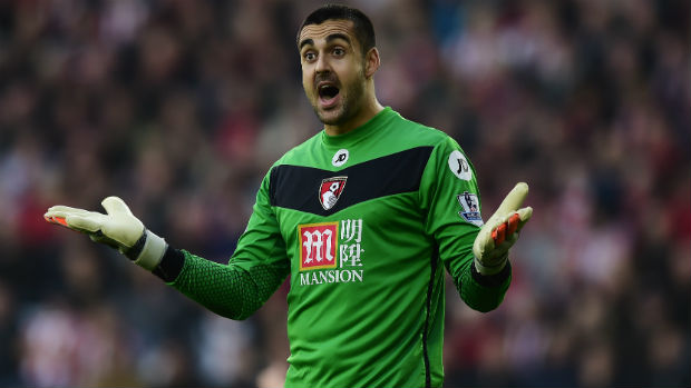 Adam Federici in goals for AFC Bournemouth during last season's English Premier League.