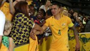 Tim Cahill thanks the fans after the Caltex Socceroos' vital 2-0 win.
