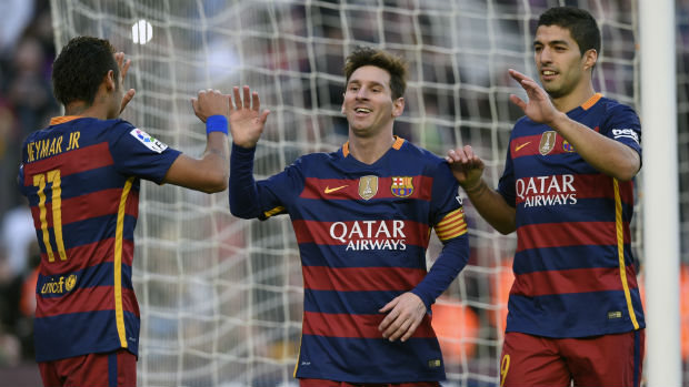 Barcelona strikeforce trio Neyamr Jnr, Lionel Messi and Luis Suarez.
