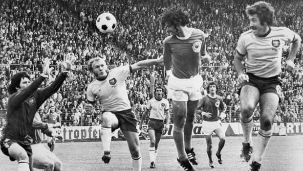Action from Australia's clash with Germany at the 1974 FIFA World Cup.
