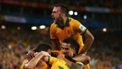 Ivan Franjic celebrates a goal during the Asian Cup.
