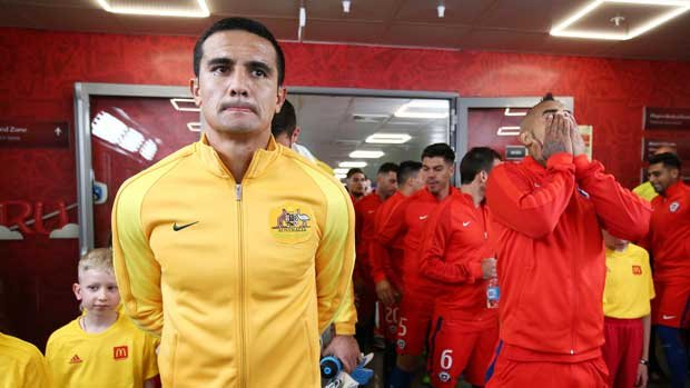 Tim Cahill prepares to lead out the Caltex Socceroos against Chile for his 100th international cap.