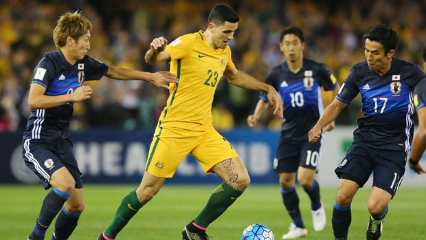 Tom Rogic on the ball against Japan in October's World Cup Qualifier in Melbourne.