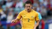 Milos Degenek on the ball during Australia's 3-2 loss to Germany.