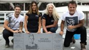 The Tombides family with Dylan's Champions Place stone at West Ham's new home ground. Image courtesy West Ham United