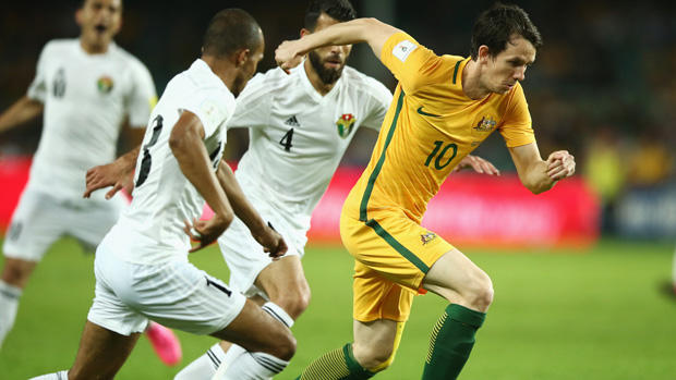 Robbie Kruse in action in a World Cup Qualifier against Jordan.