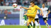 Caltex Socceroos defender Trent Sainsbury clears the danger in the opening group game against Germany at the FIFA Confederations Cup.