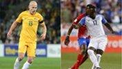 Caltex Socceroos midfielder Aaron Mooy and USA striker Jozy Altidore.