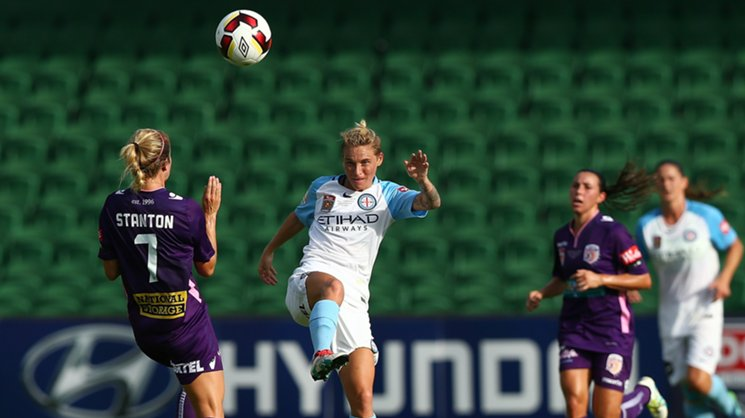 Melbourne City's Jess Fishlock during the 2017 Westfield W-League grand final against Perth Glory.