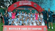 Melbourne City's Westfield W-League squad celebrate winning back-to-back championships.