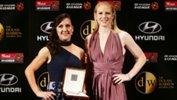 Westfield Matildas co-captains Lisa De Vanna and Clare Polkinghorne with the 2016 Judy Dolan Medal on behalf of Ashleigh Sykes.