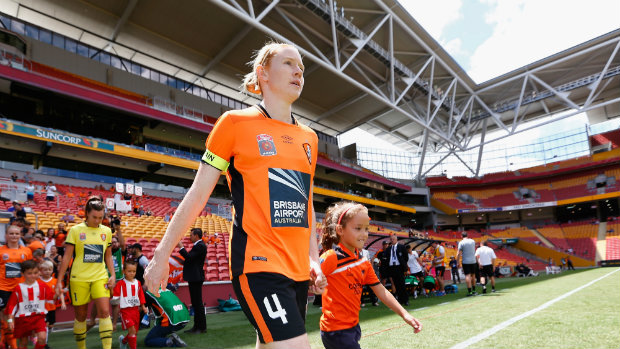 Brisbane Roar's Clare Polkinghorne enters the field for her 100th match