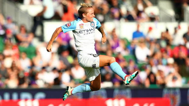 Jess Fishlock celebrates Melbourne City's first goal