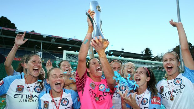Melbourne City celebrate with the Westfield W-League trophy