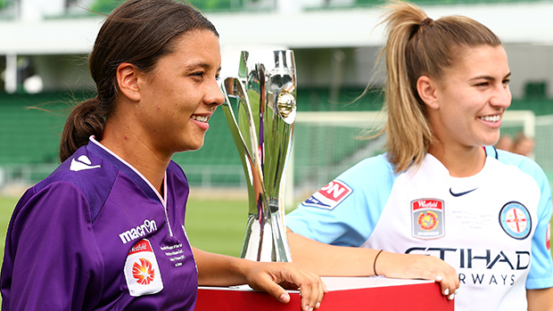 Perth Glory star Sam Kerr and Melbourne City skipper Steph Catley.
