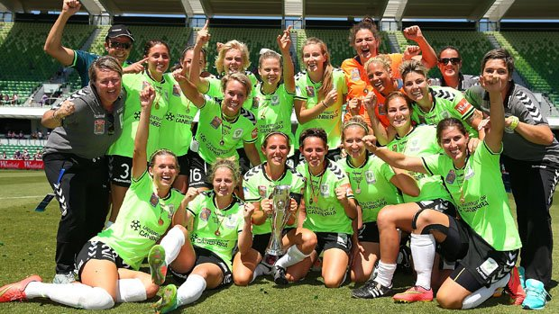 Canberra United celebrate their 3-1 win over Perth Glory in the last season's Westfield W-League Grand Final.
