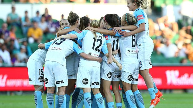 Melbourne City players celebrate after winning the Westfield W-League Grand Final.