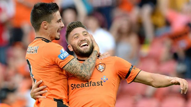 Brisbane Roar forwards Jamie Maclaren and Brandon Borrello.