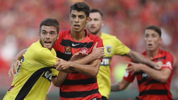 The Mariners' Liam Rose and Western Sydney's Jonathan Aspropotamitis are part of a training camp in preparation for the AFC U-23 Championships.