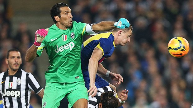 Gianluigi Buffon in action against the Foxtel A-League All Stars.