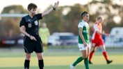 Westfield W-League referee Casey Reibelt takes charge of a match between Canberra and Adelaide.