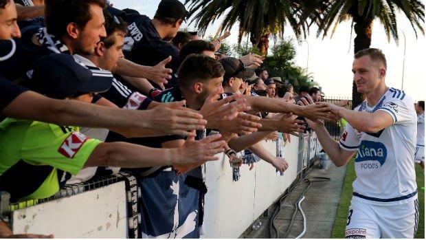 Melbourne Victory striker Besart Berisha thanks fans following his side's Round 22 clash at Central Coast Stadium.
