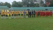 The Young Matildas and senior Myanmar side before kick-off.