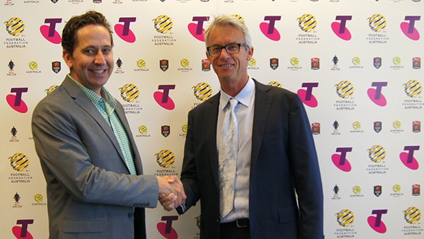 Telstra's Director of Digital Media and Content Adam Good and FFA CEO David Gallop.