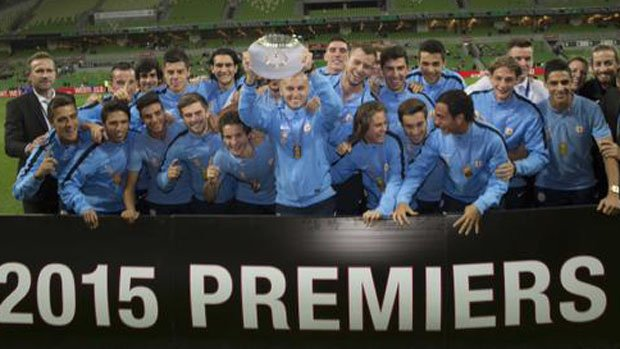 Melbourne City celebrate the 2014/15 Foxtel National Youth League title.