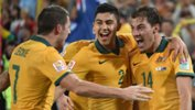 The Caltex Socceroos celebrate James Troisi's winner in the 2015 Asian Cup final.