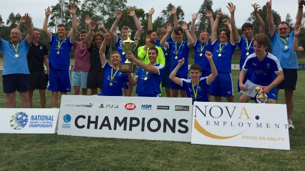 NSW celebrate their 2016 National Paralympic 7-a-side Championship title.